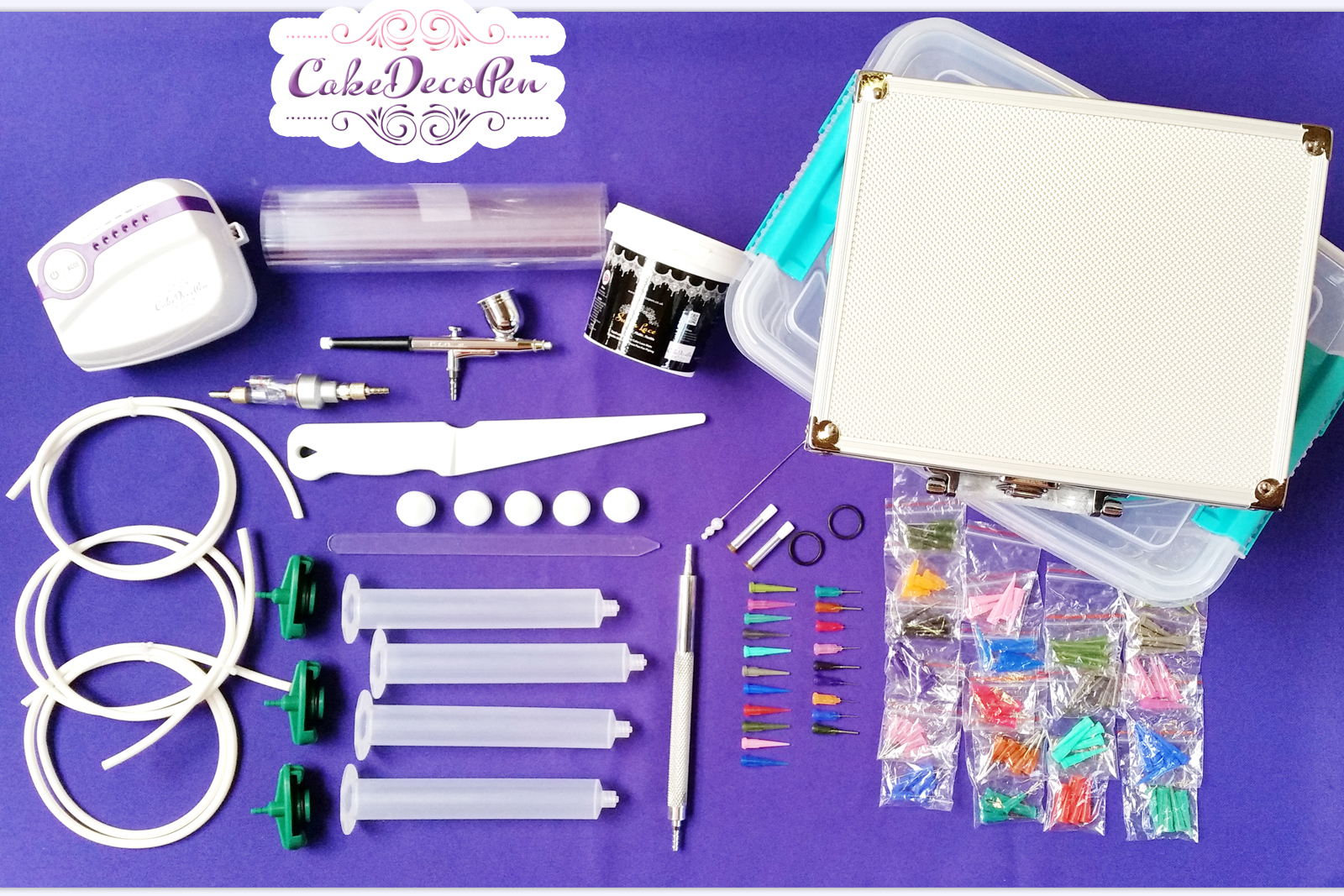 Cake Deco Pen Machine | Dual Action Kit | Deco Pen Kit + Air Brush Kit | Cake Cupcake Cookie | Makers and Decorators | Christmas Gift Ideas
