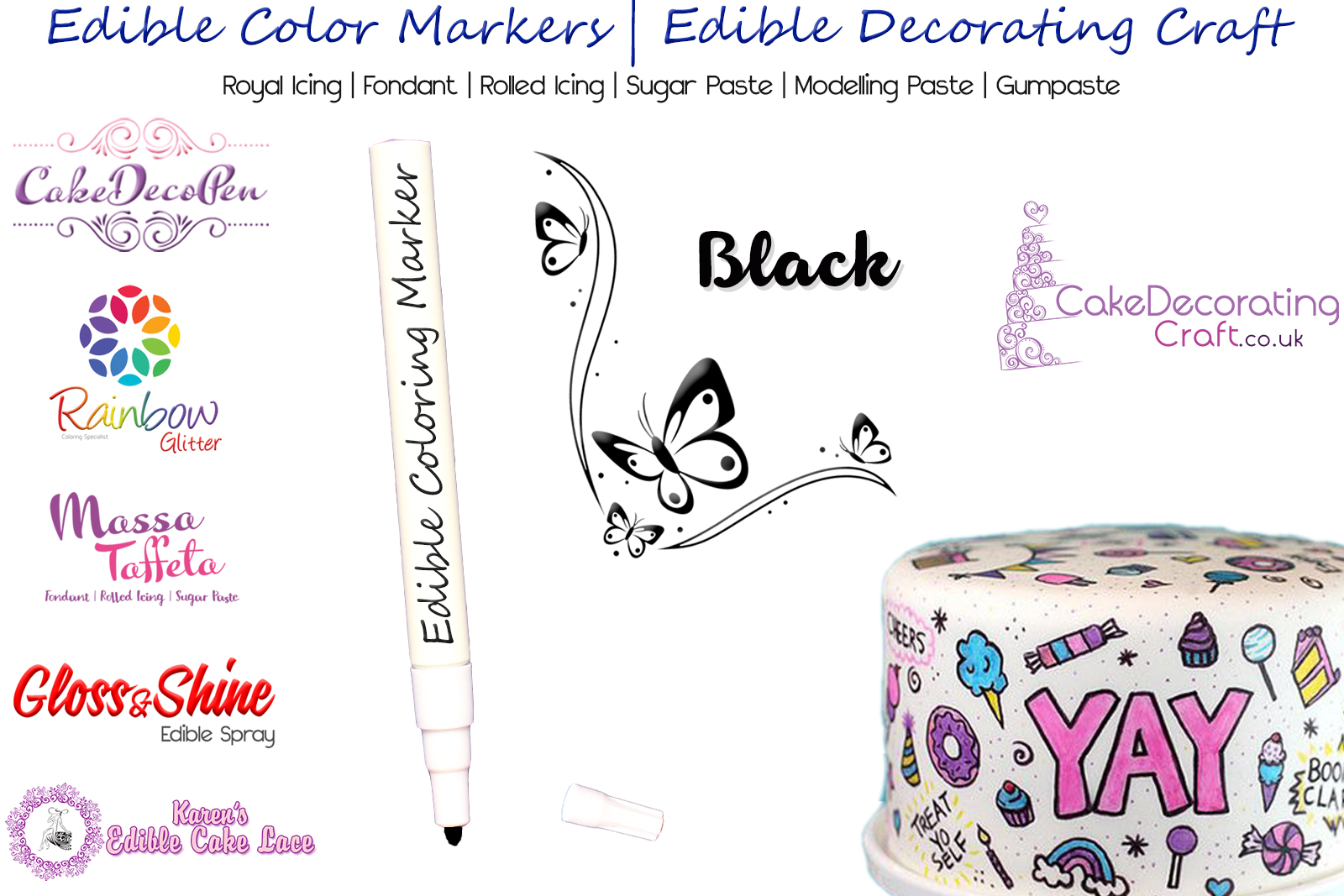 Cake Decorating Craft | Icing Pen | Icing Colouring Marker | Edible Painting Ink | Black | Christmas Cake Cupcake Decorating Craft