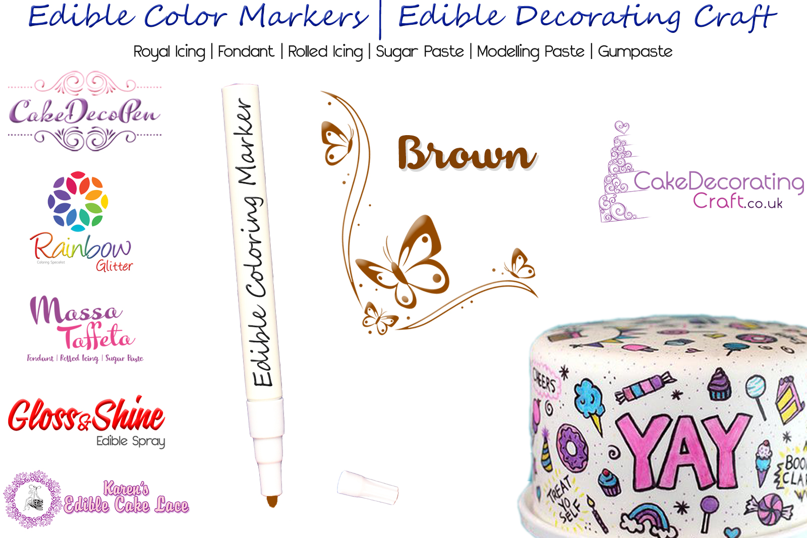 Cake Decorating Craft | Icing Pen | Icing Colouring Marker | Edible Painting Ink | Brown | Christmas Cake Cupcake Decorating Craft