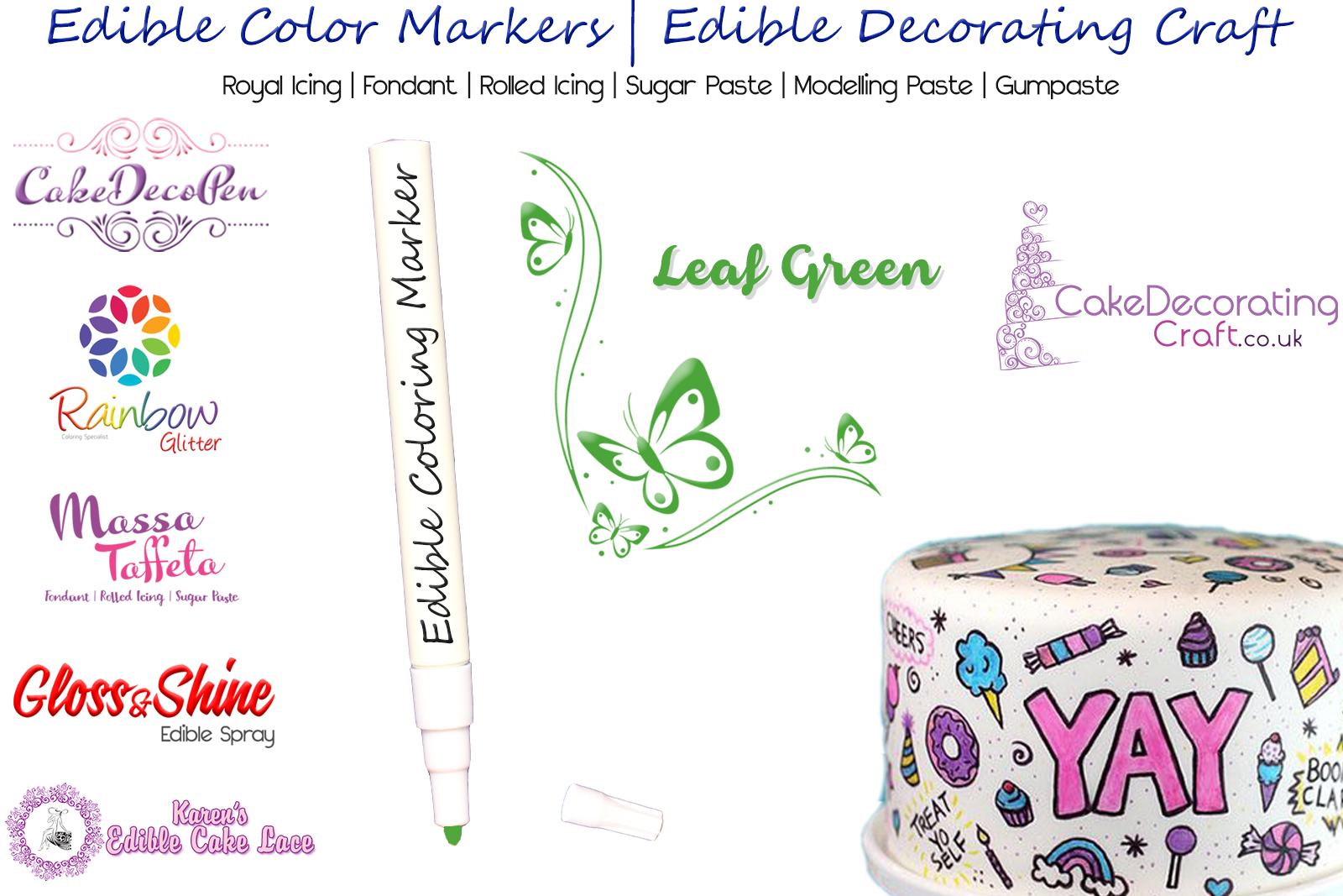 Cake Decorating Craft | Icing Pen | Icing Colouring Marker | Edible Painting Ink | Leaf Green | Christmas Cake Cupcake Decorating Craft
