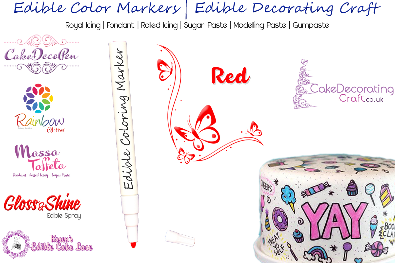 Cake Decorating Craft | Icing Pen | Icing Colouring Marker | Edible Painting Ink | Red | Christmas Cake Cupcake Decorating Craft
