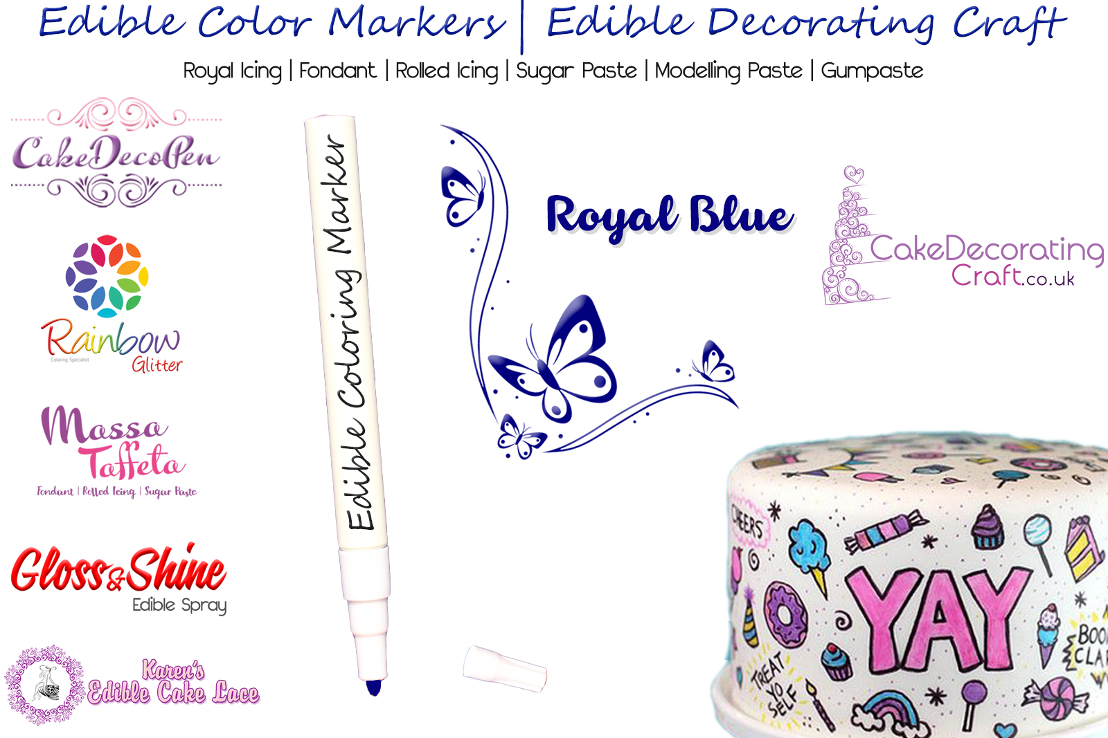 Cake Decorating Craft | Icing Pen | Icing Colouring Marker | Edible Painting Ink | Royal Blue | Christmas Cake Cupcake Decorating Craft
