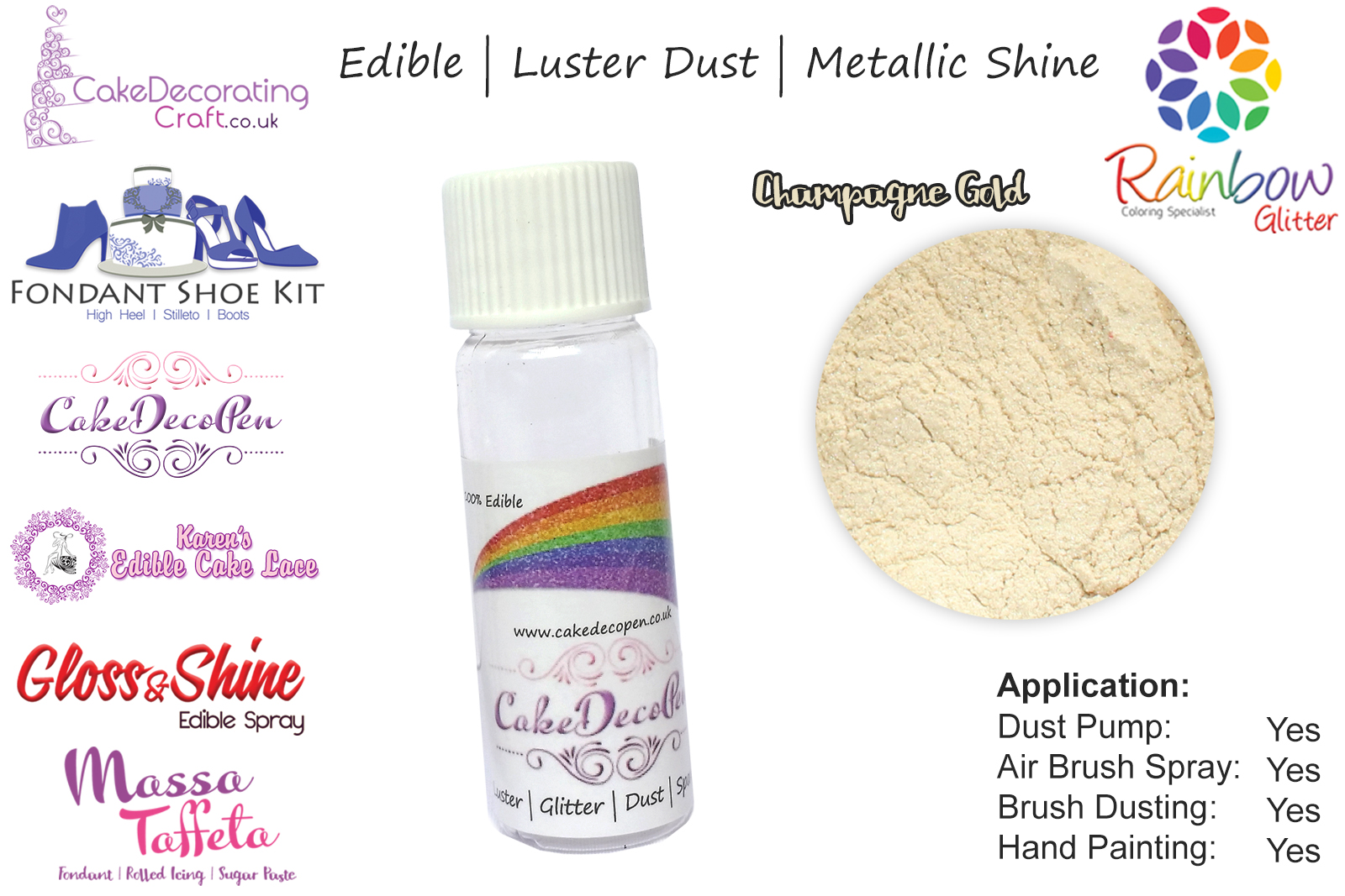 Champagne Gold Pearled Luster Shimmer Gloss Edible