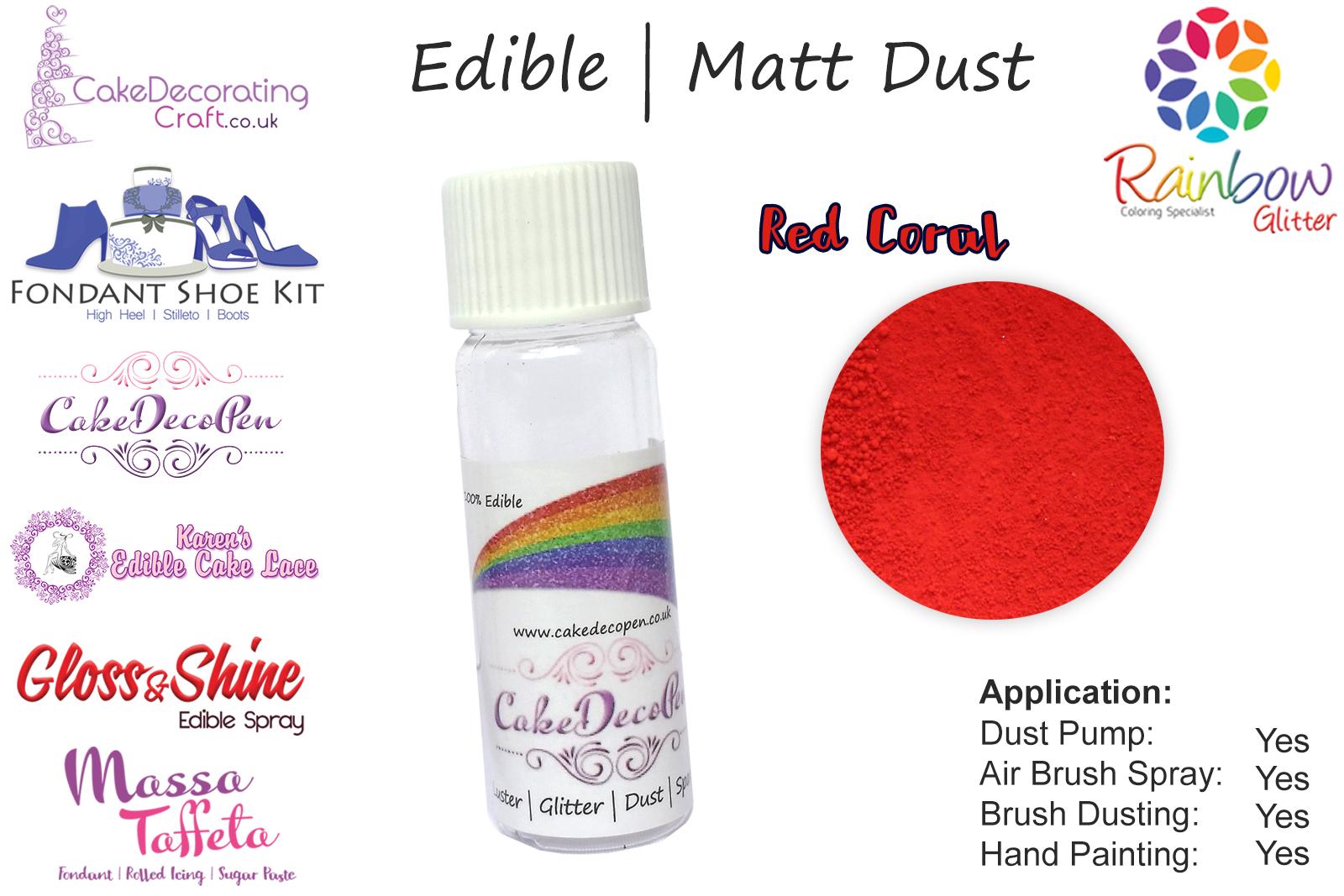 Red Coral | 4 Gram Tube | Matt Dust | For Cake Decorating