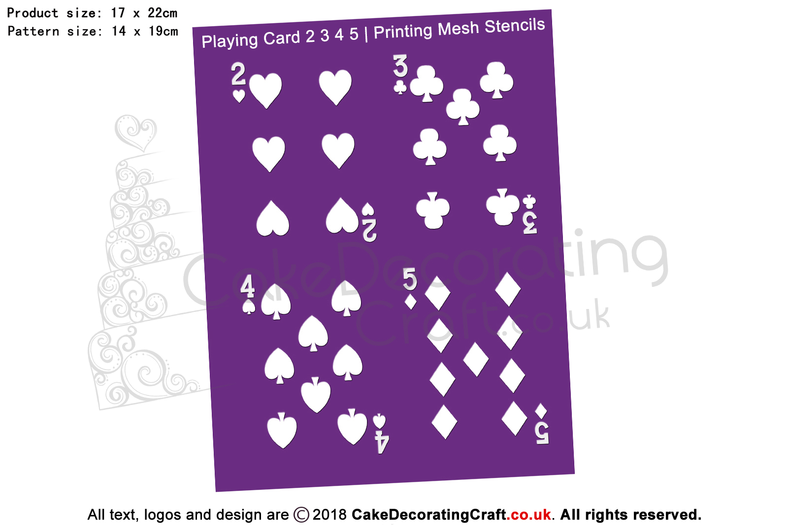 Playing Card 2 3 4 5 | Printing Mesh Stencils | Edible Ink
