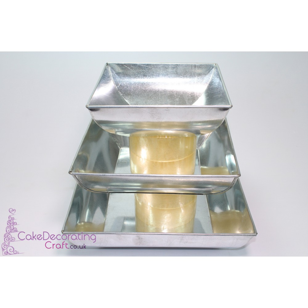 """Pillow Square Cake Baking Tin   3"""" Deep   Size 8 10 12 """"   3 Tiers   Hand Made"""