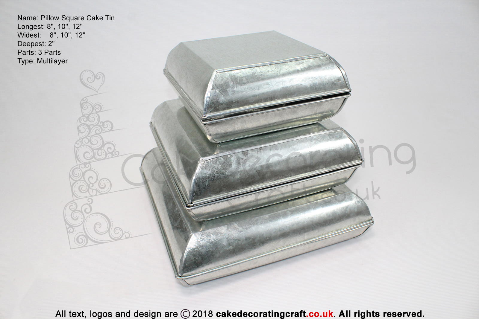 "Pillow Square Cake Baking Tin | 2"" Deep 